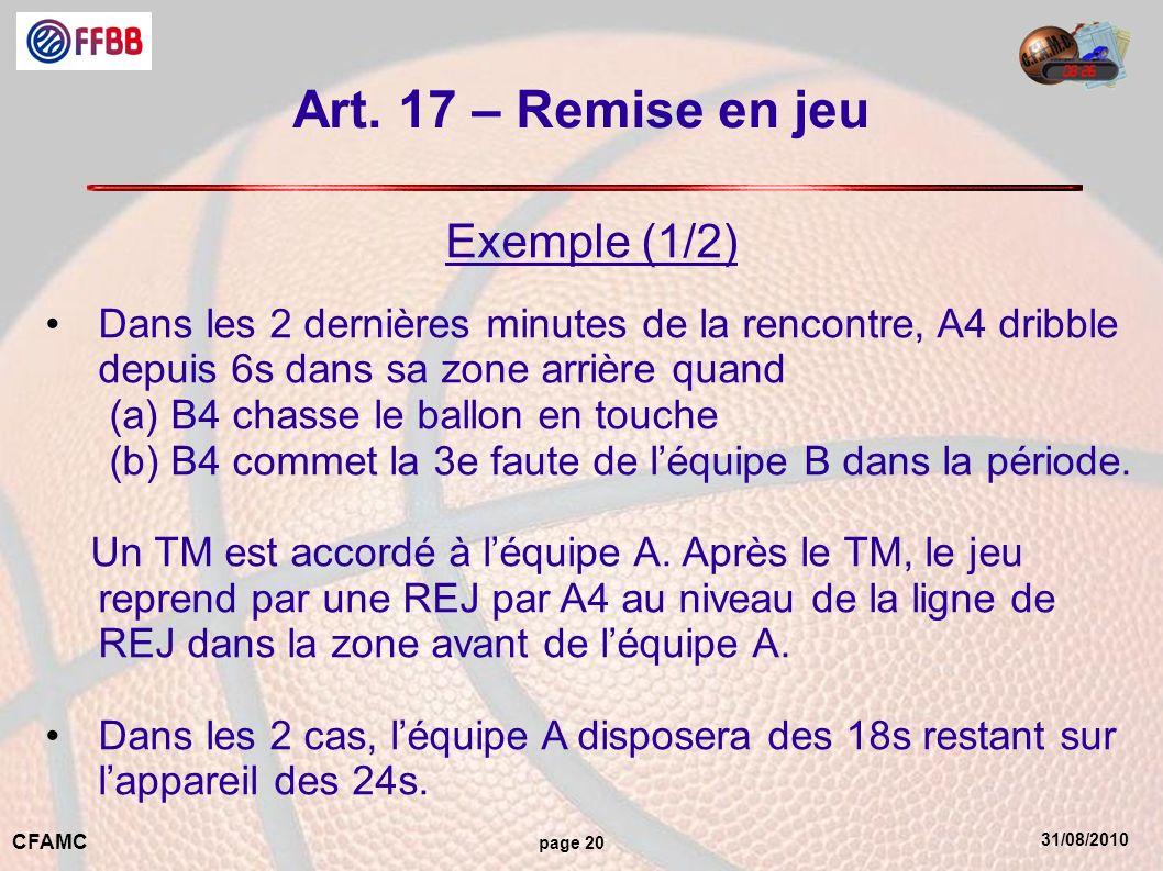 Art. 17 – Remise en jeu Exemple (1/2)