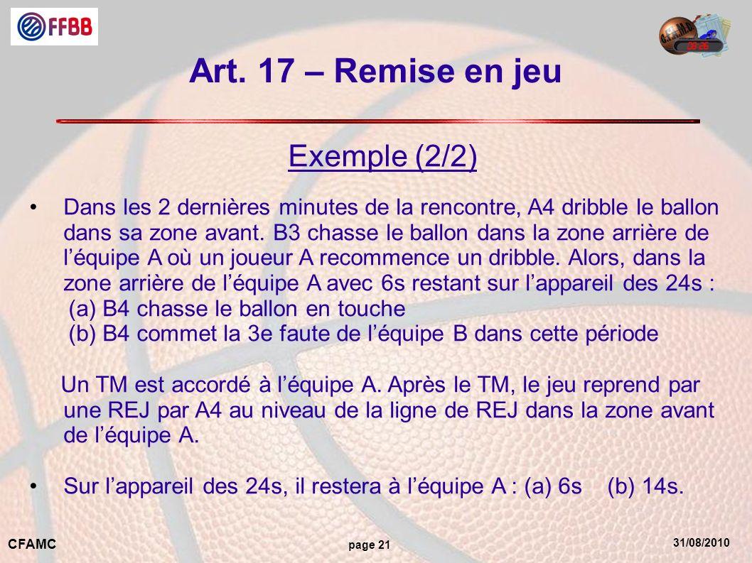 Art. 17 – Remise en jeu Exemple (2/2)
