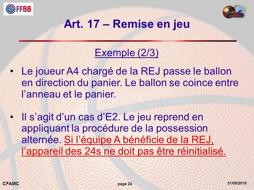 Art. 17 – Remise en jeu Exemple (2/3)