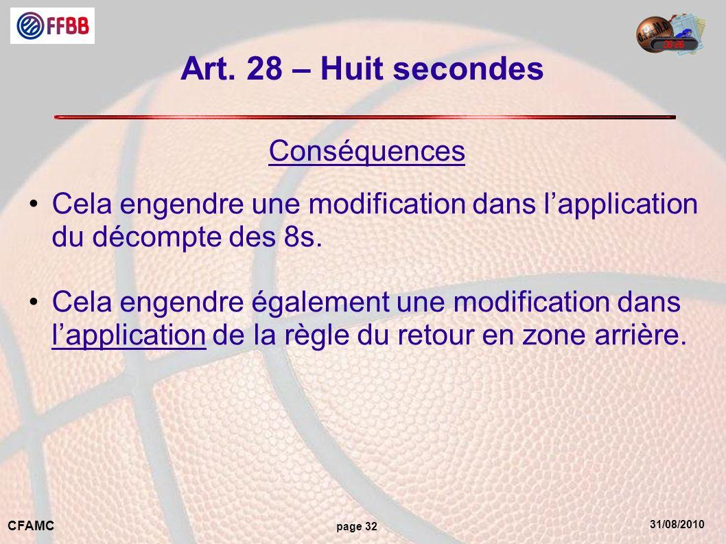 Art. 28 – Huit secondes Conséquences