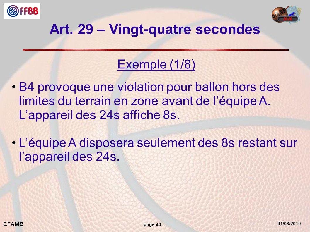 Art. 29 – Vingt-quatre secondes