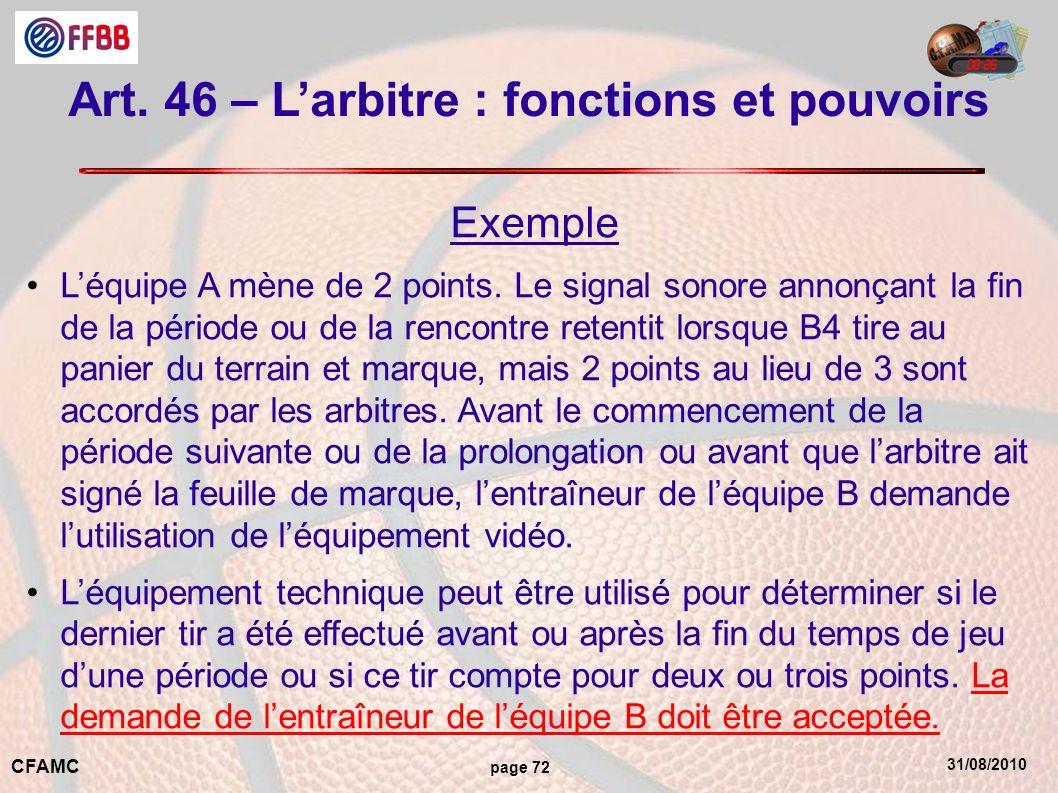 Art. 46 – L'arbitre : fonctions et pouvoirs