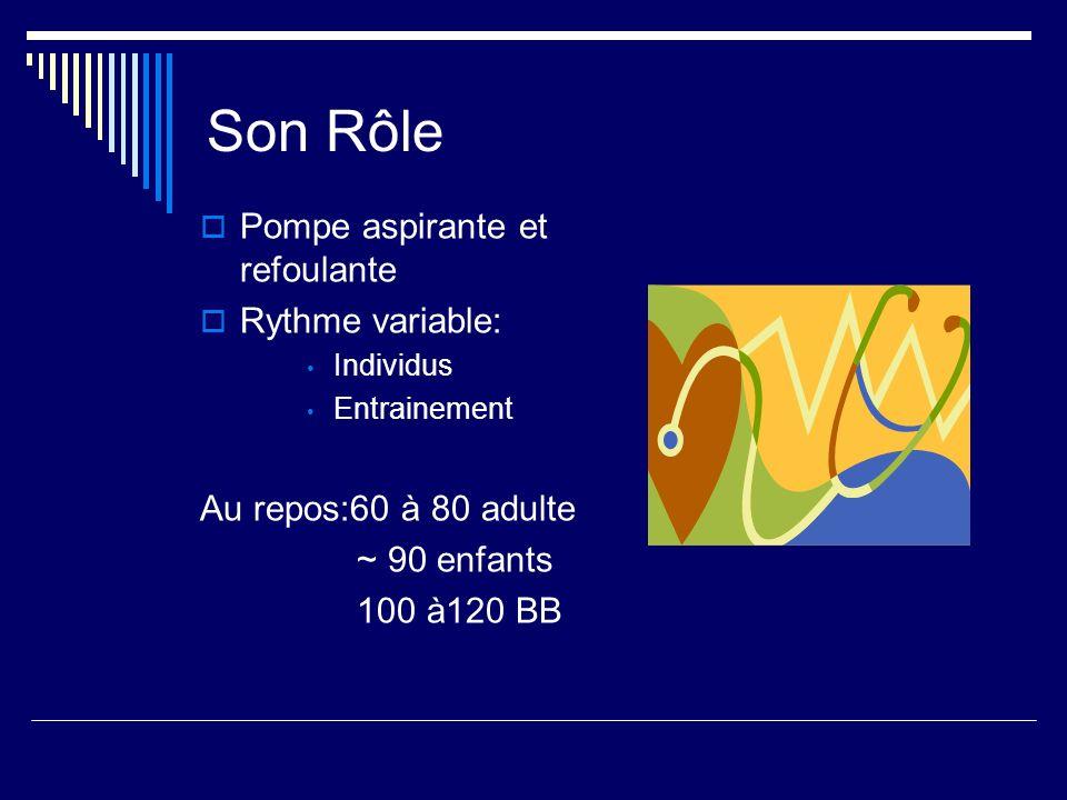 Son Rôle Pompe aspirante et refoulante Rythme variable: