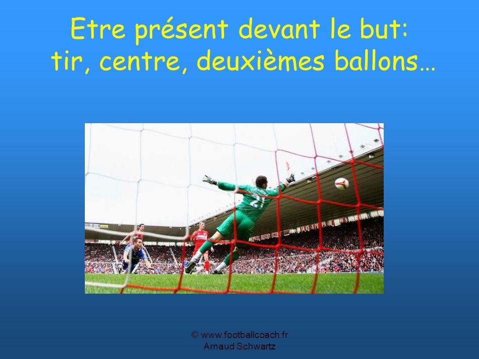 Etre présent devant le but: tir, centre, deuxièmes ballons…