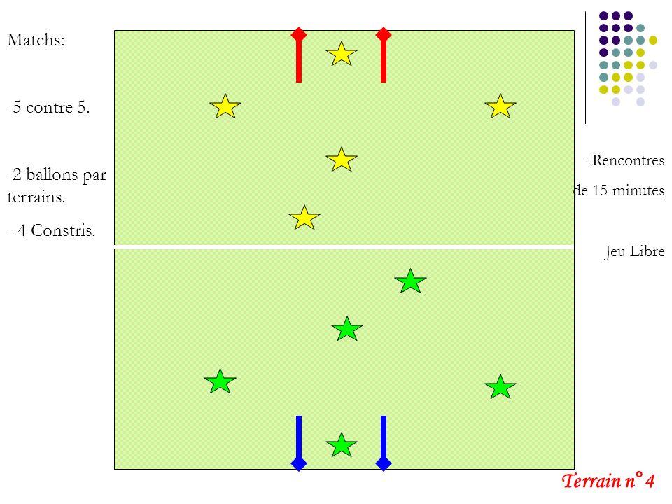 Terrain n°4 Matchs: 5 contre 5. 2 ballons par terrains. 4 Constris.
