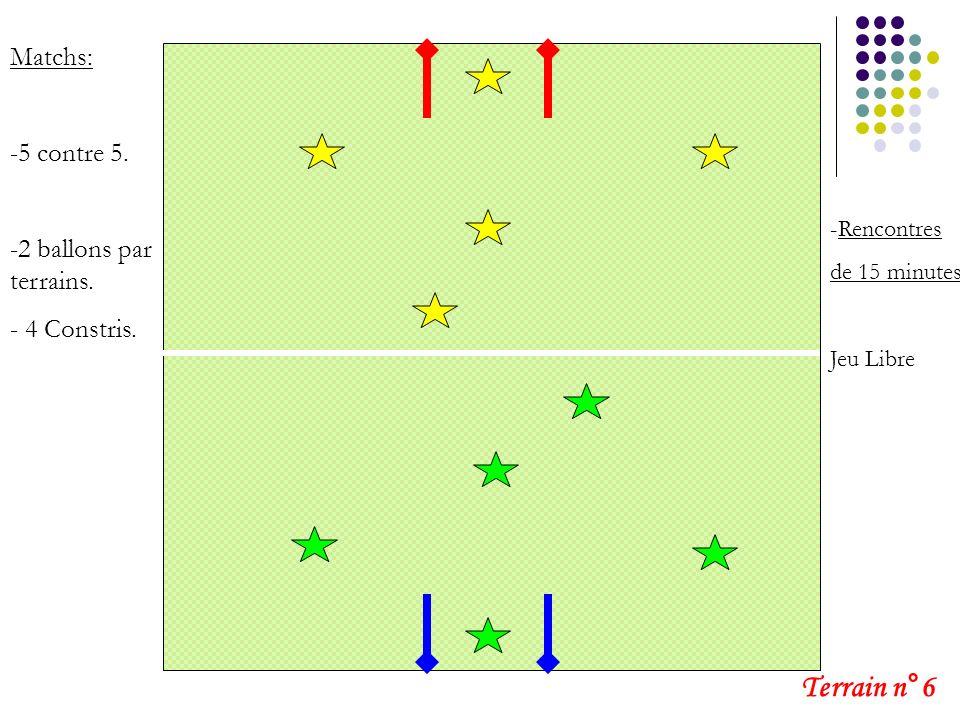 Terrain n°6 Matchs: 5 contre 5. 2 ballons par terrains. 4 Constris.