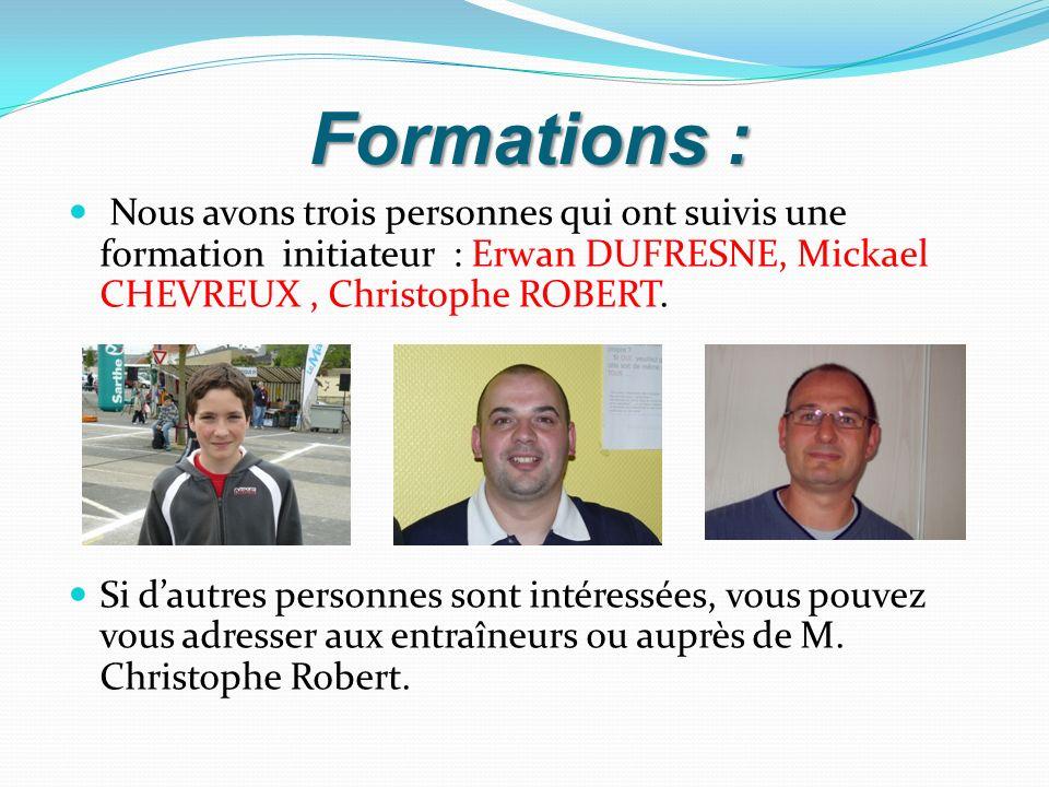 Formations : Nous avons trois personnes qui ont suivis une formation initiateur : Erwan DUFRESNE, Mickael CHEVREUX , Christophe ROBERT.