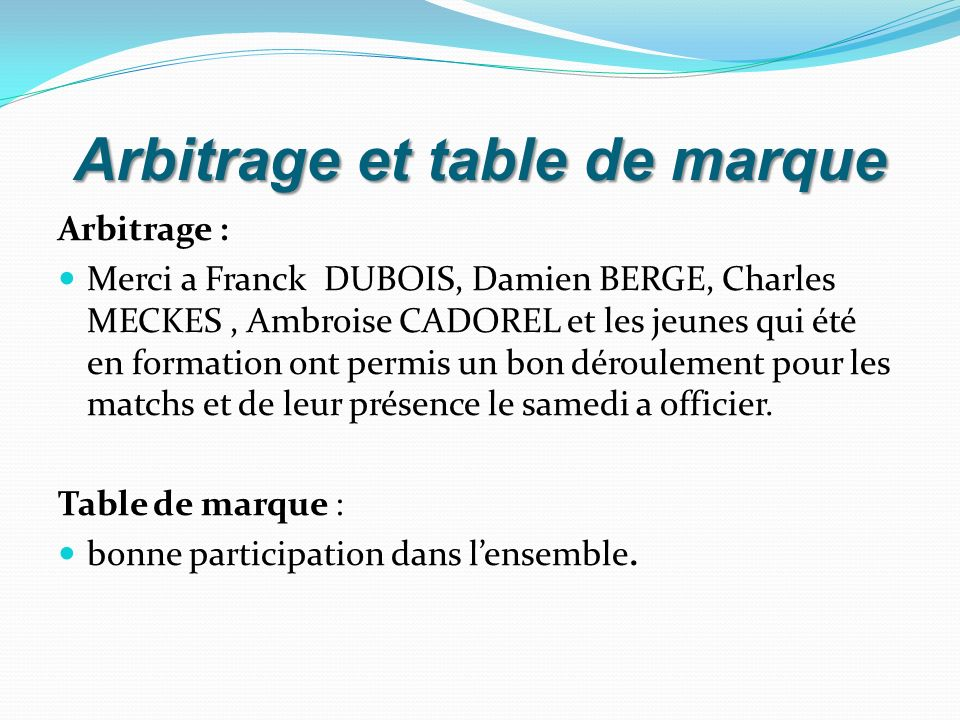 Arbitrage et table de marque