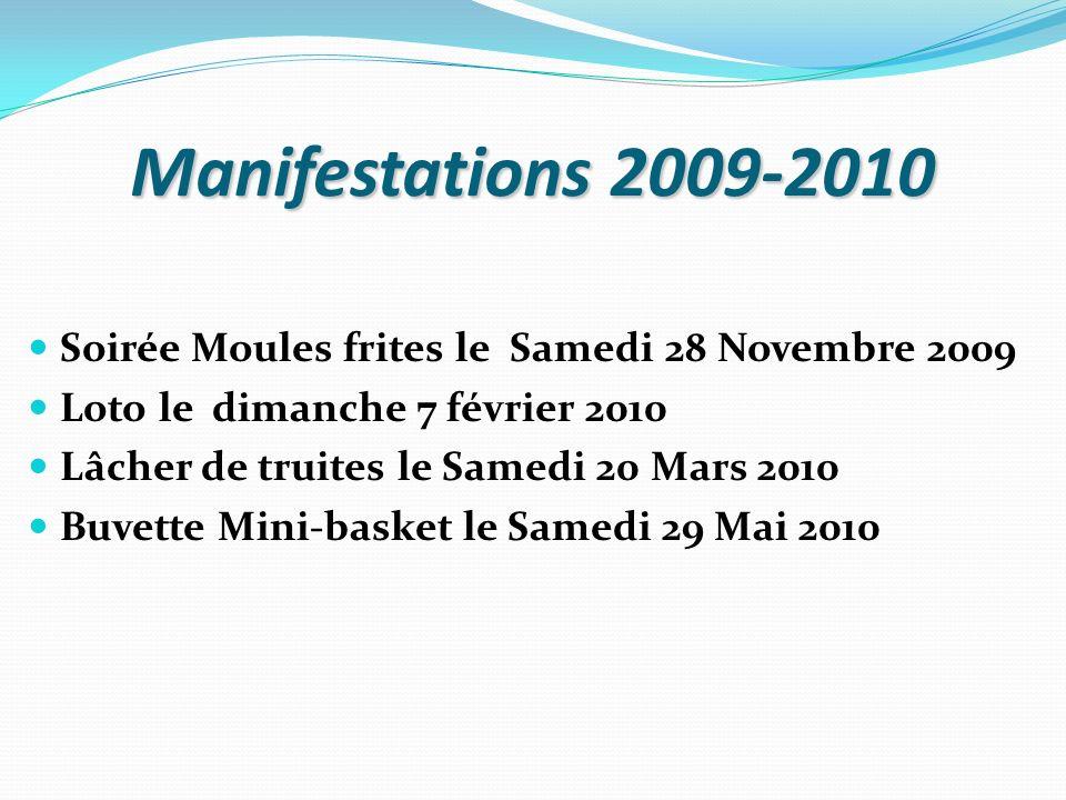 Manifestations 2009-2010 Soirée Moules frites le Samedi 28 Novembre 2009. Loto le dimanche 7 février 2010.