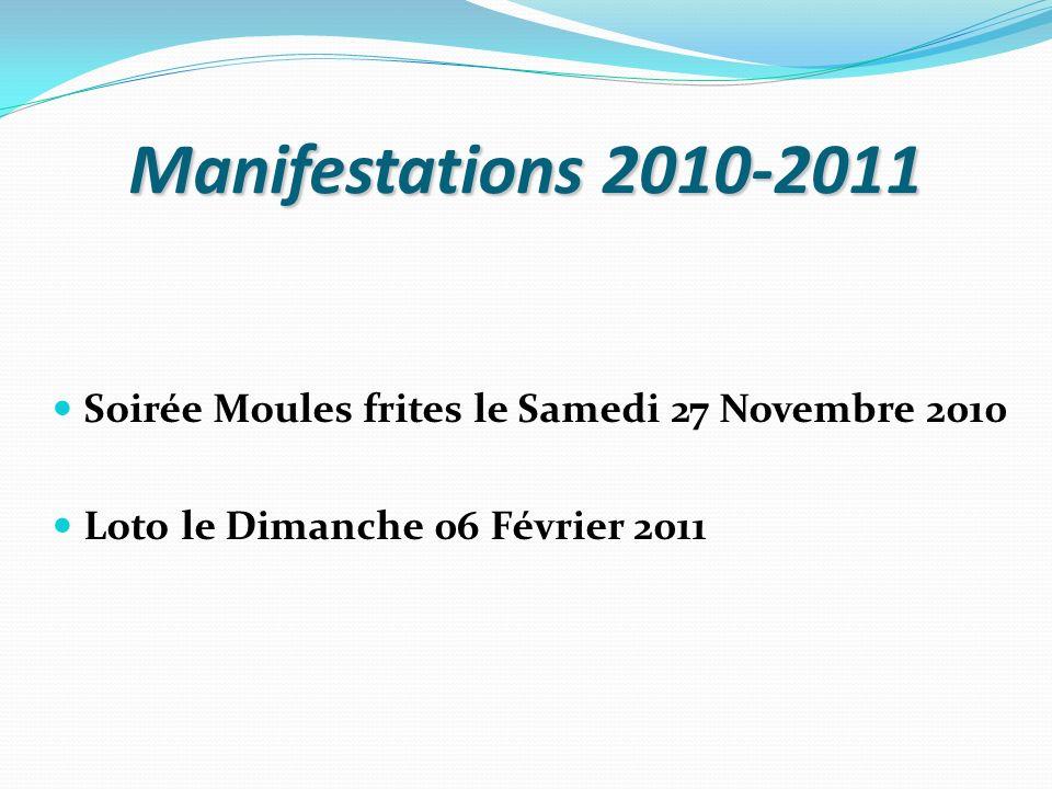 Manifestations 2010-2011 Soirée Moules frites le Samedi 27 Novembre 2010.