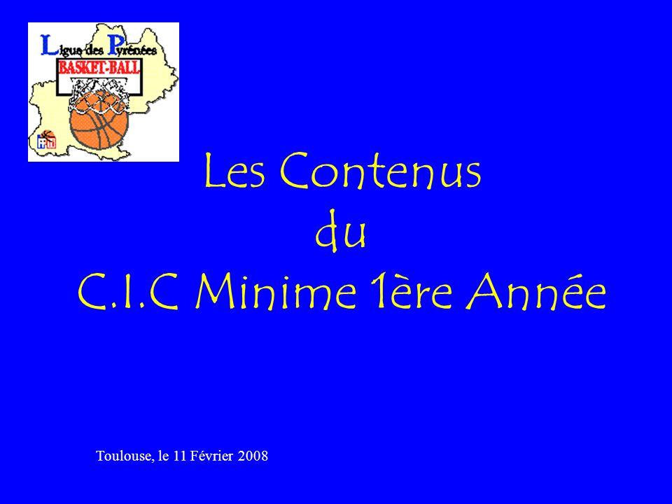 Les Contenus du C.I.C Minime 1ère Année