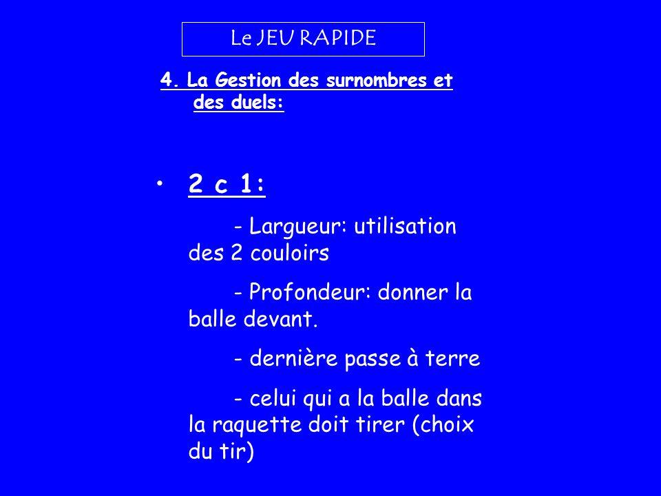 2 c 1: Le JEU RAPIDE - Largueur: utilisation des 2 couloirs
