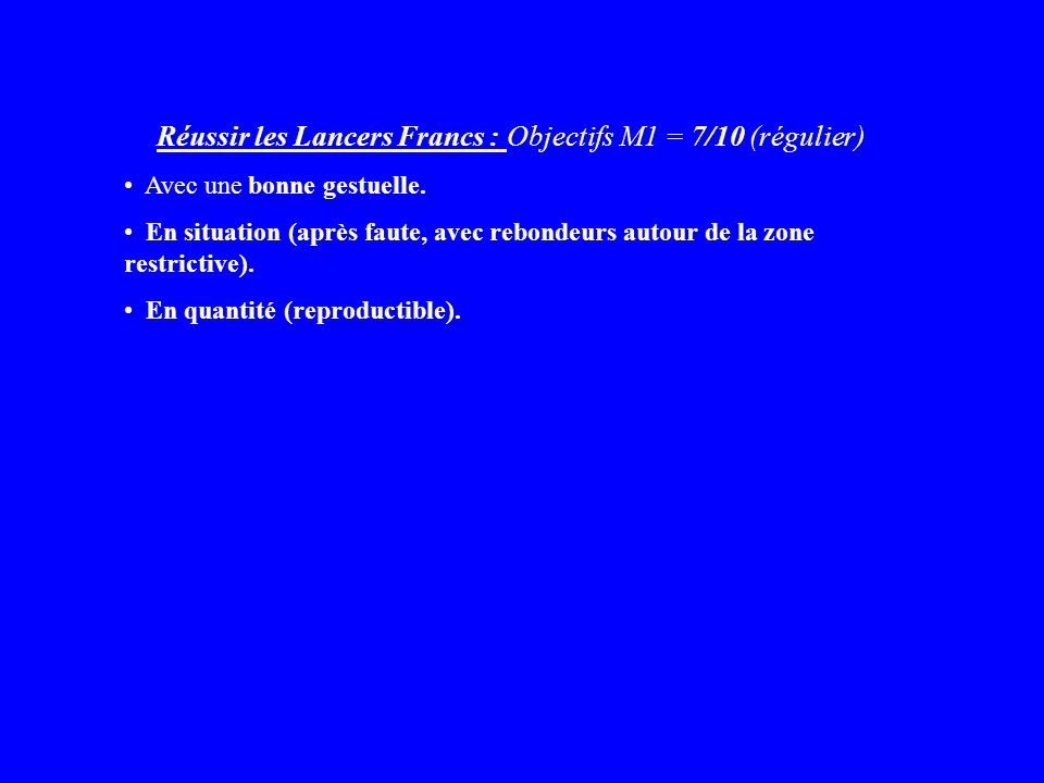 Réussir les Lancers Francs : Objectifs M1 = 7/10 (régulier)