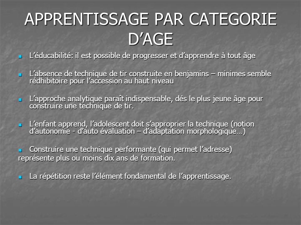 APPRENTISSAGE PAR CATEGORIE D'AGE