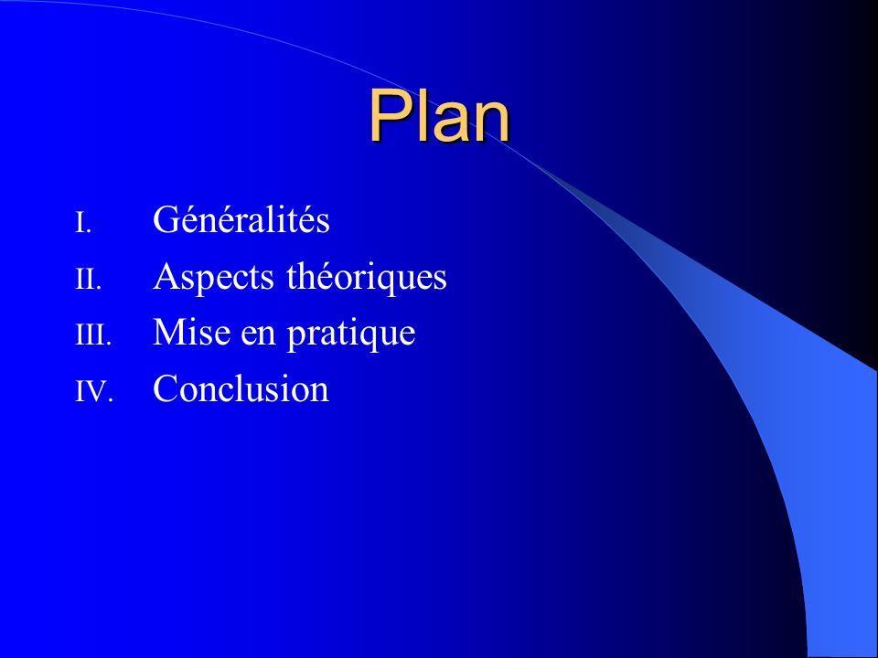 Plan Généralités Aspects théoriques Mise en pratique Conclusion