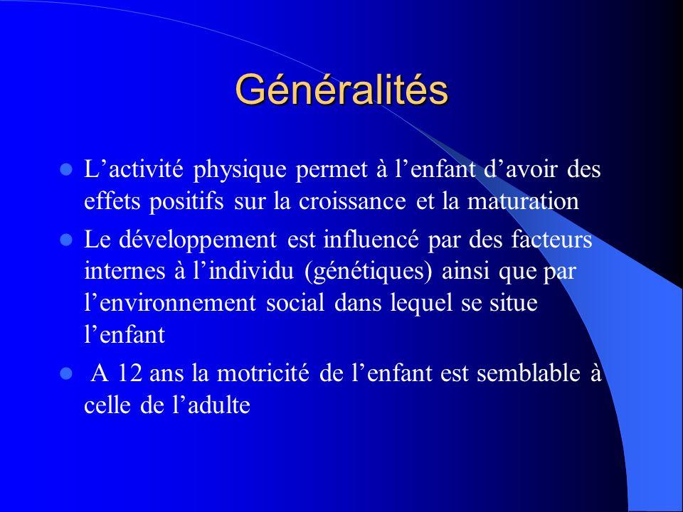 Généralités L'activité physique permet à l'enfant d'avoir des effets positifs sur la croissance et la maturation.