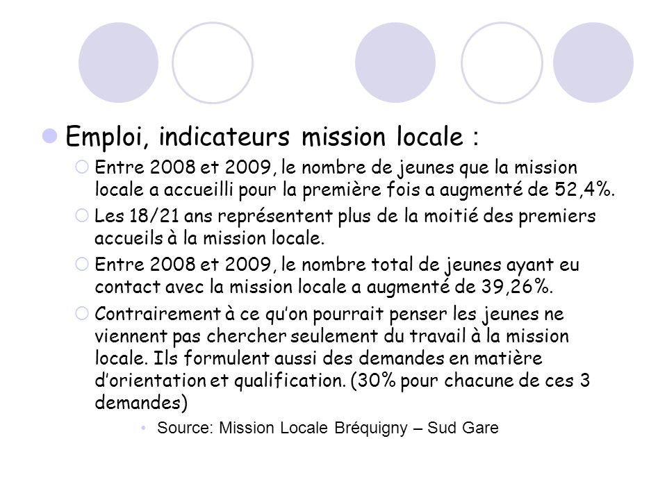 Emploi, indicateurs mission locale :