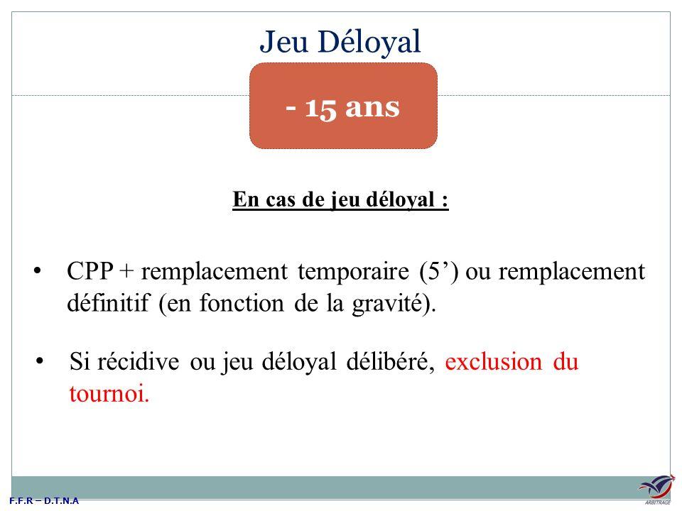 Jeu Déloyal - 15 ans. En cas de jeu déloyal : CPP + remplacement temporaire (5') ou remplacement définitif (en fonction de la gravité).