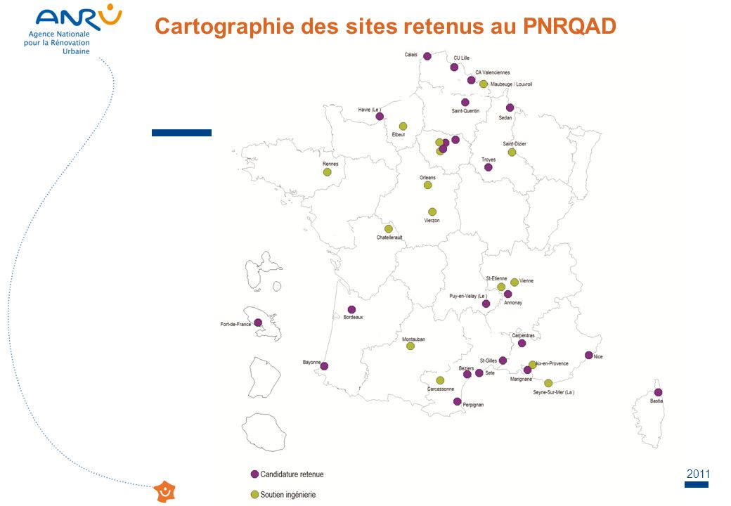 Cartographie des sites retenus au PNRQAD