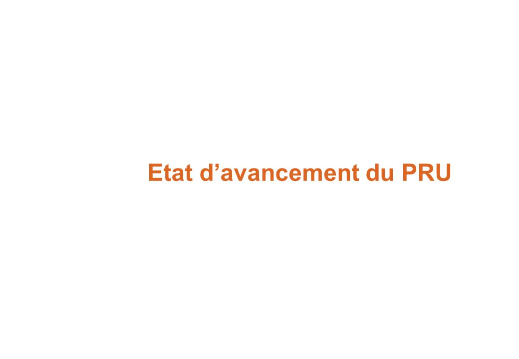Etat d'avancement du PRU