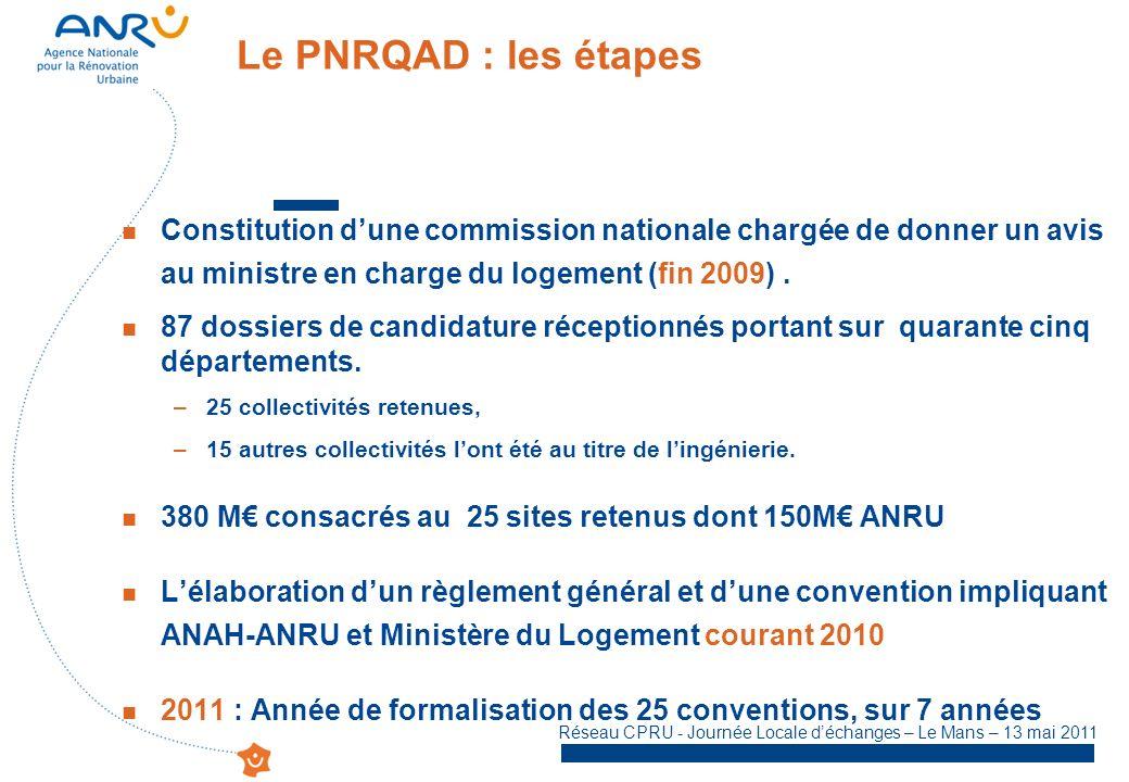 Le PNRQAD : les étapes Constitution d'une commission nationale chargée de donner un avis au ministre en charge du logement (fin 2009) .