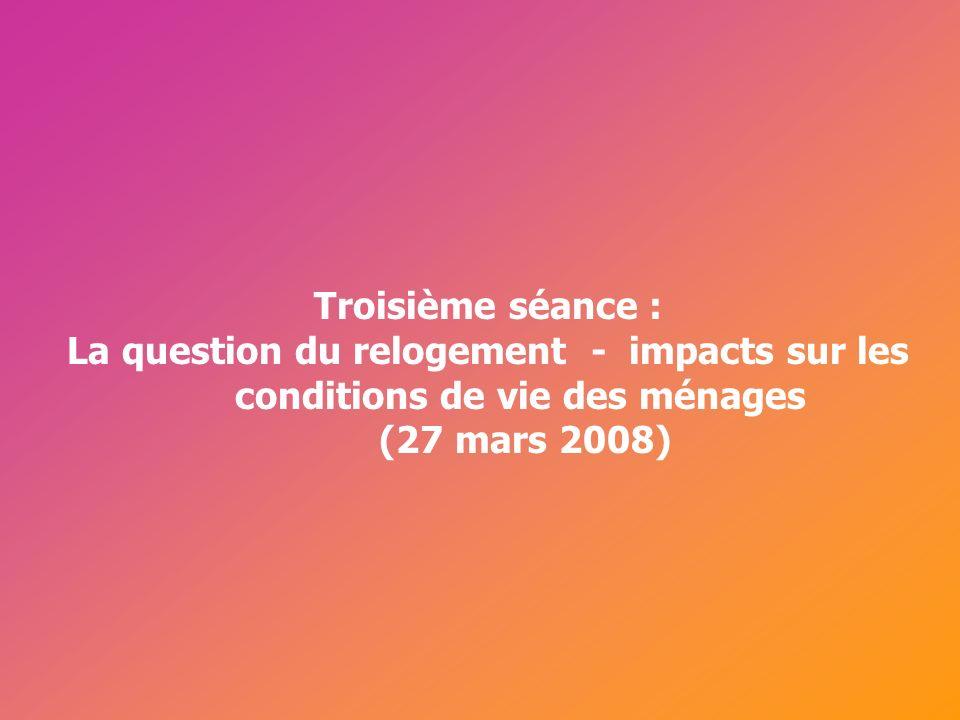 Troisième séance : La question du relogement - impacts sur les conditions de vie des ménages (27 mars 2008)