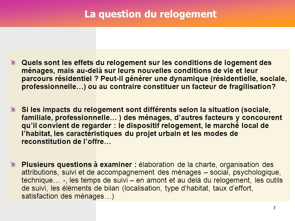 La question du relogement