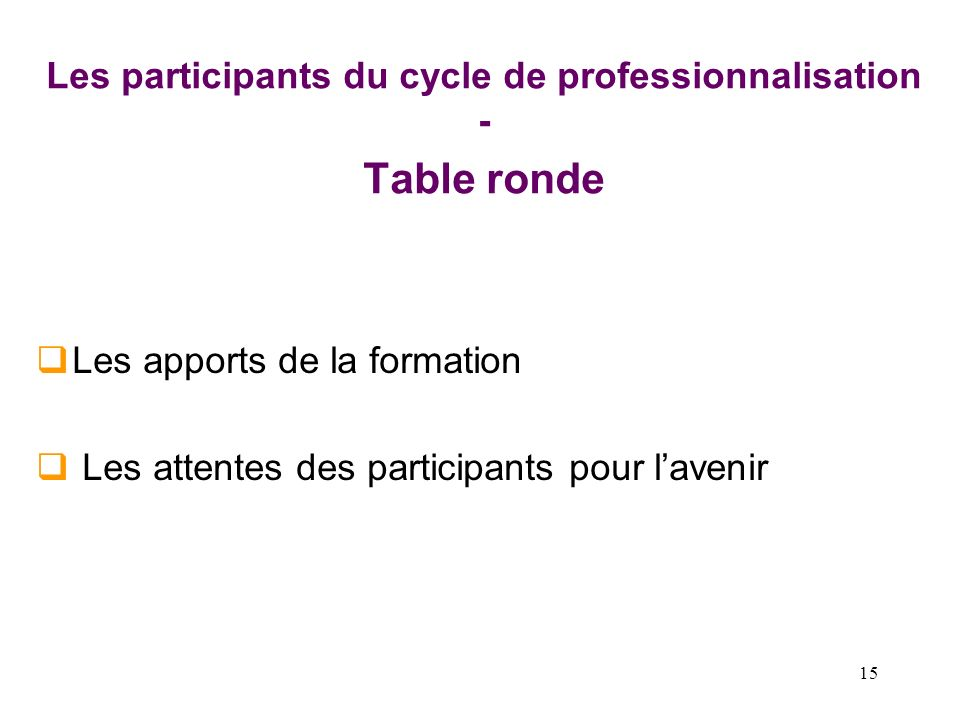 Les participants du cycle de professionnalisation - Table ronde