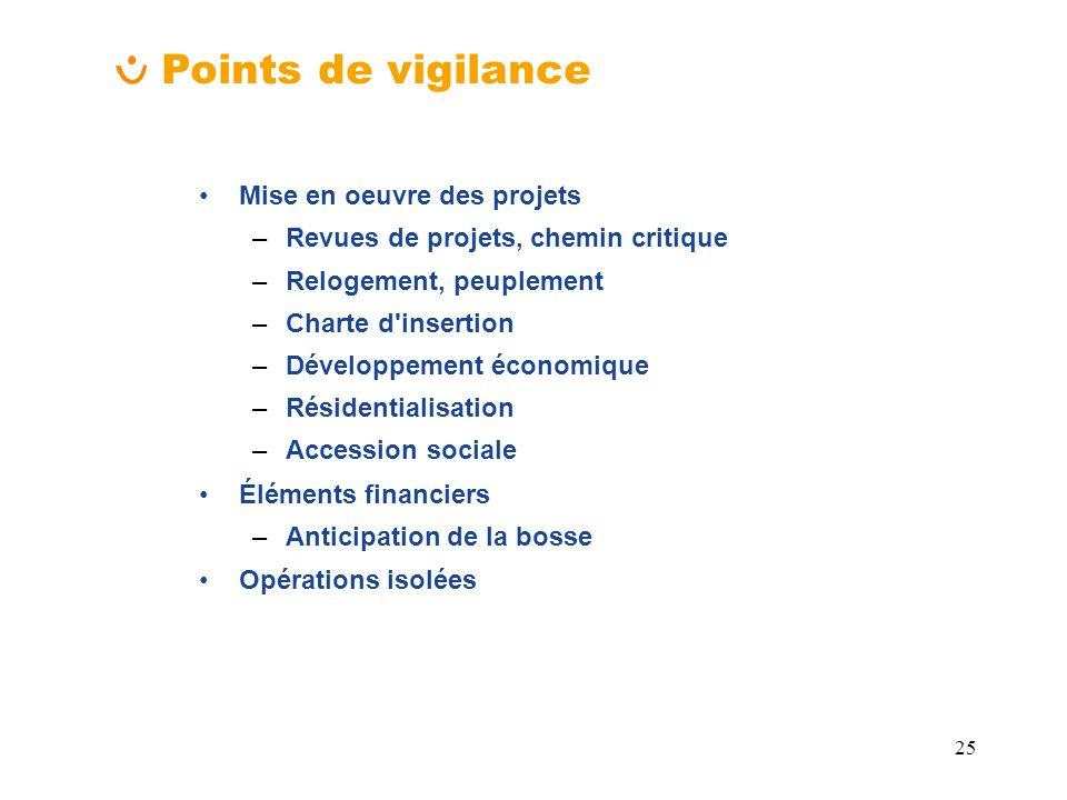 Points de vigilance Mise en oeuvre des projets