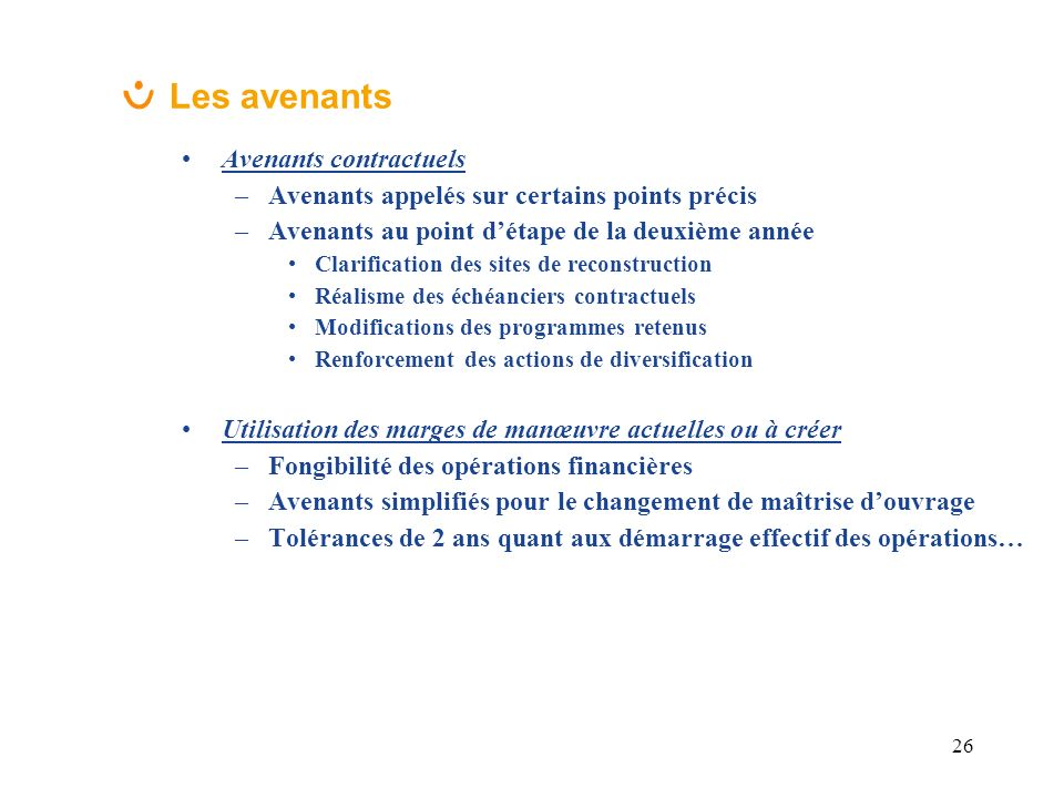 Les avenants Avenants contractuels