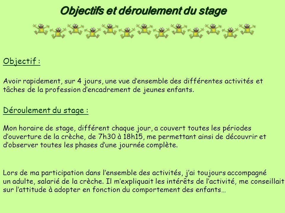 Objectifs et déroulement du stage