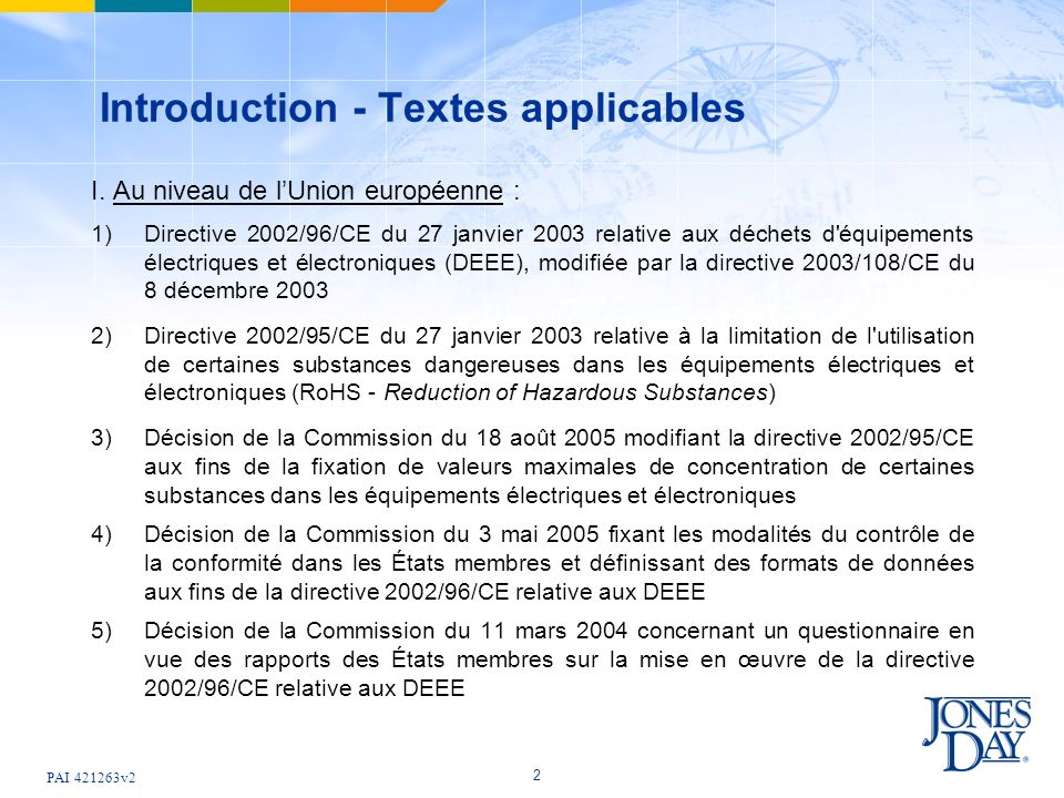 Introduction - Textes applicables