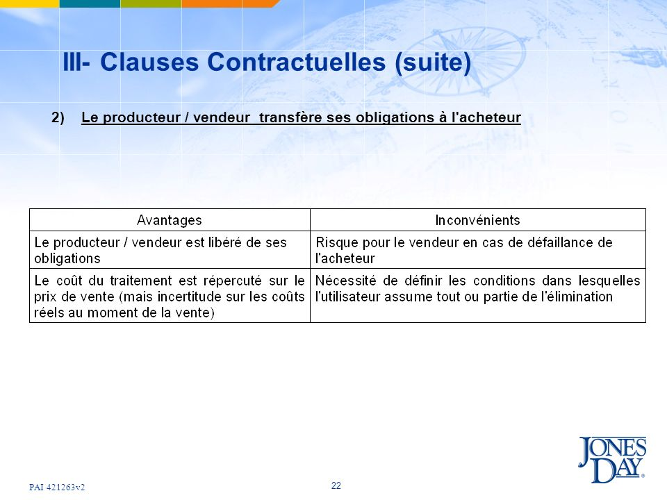 III- Clauses Contractuelles (suite)