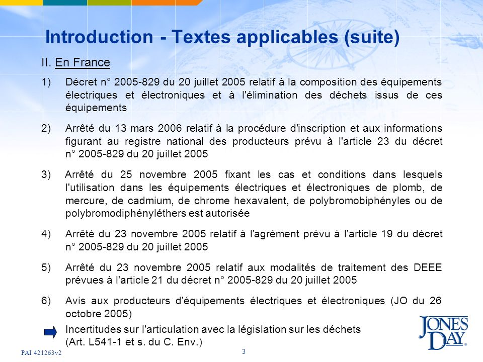 Introduction - Textes applicables (suite)