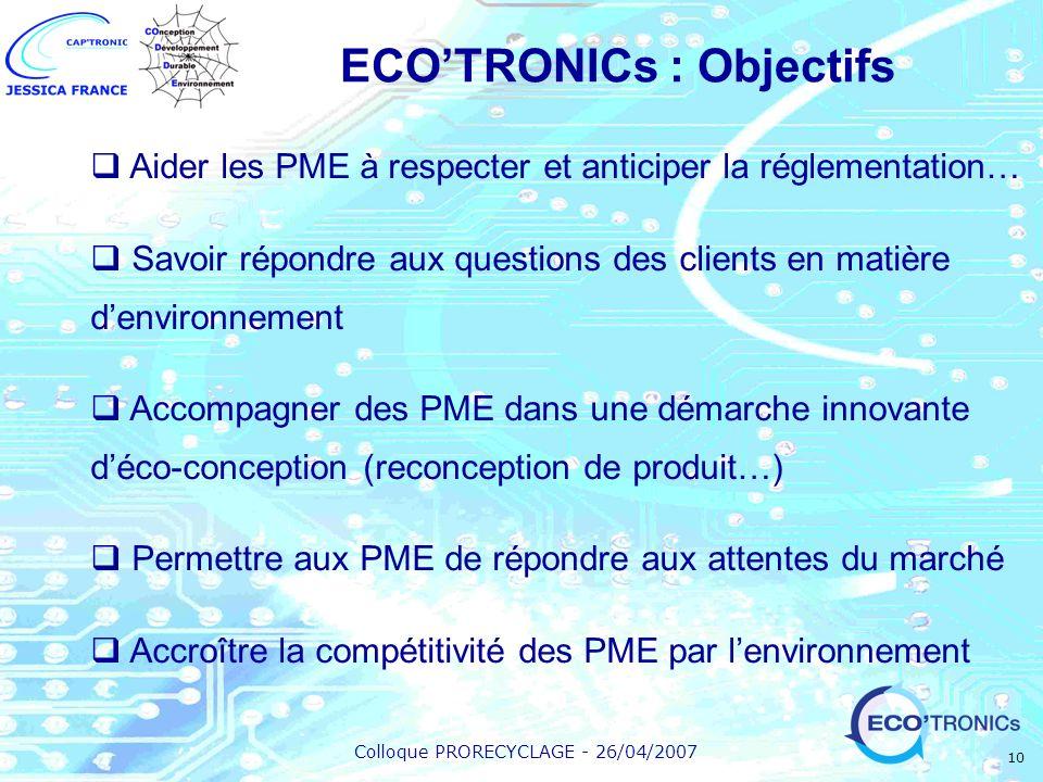 ECO'TRONICs : Objectifs