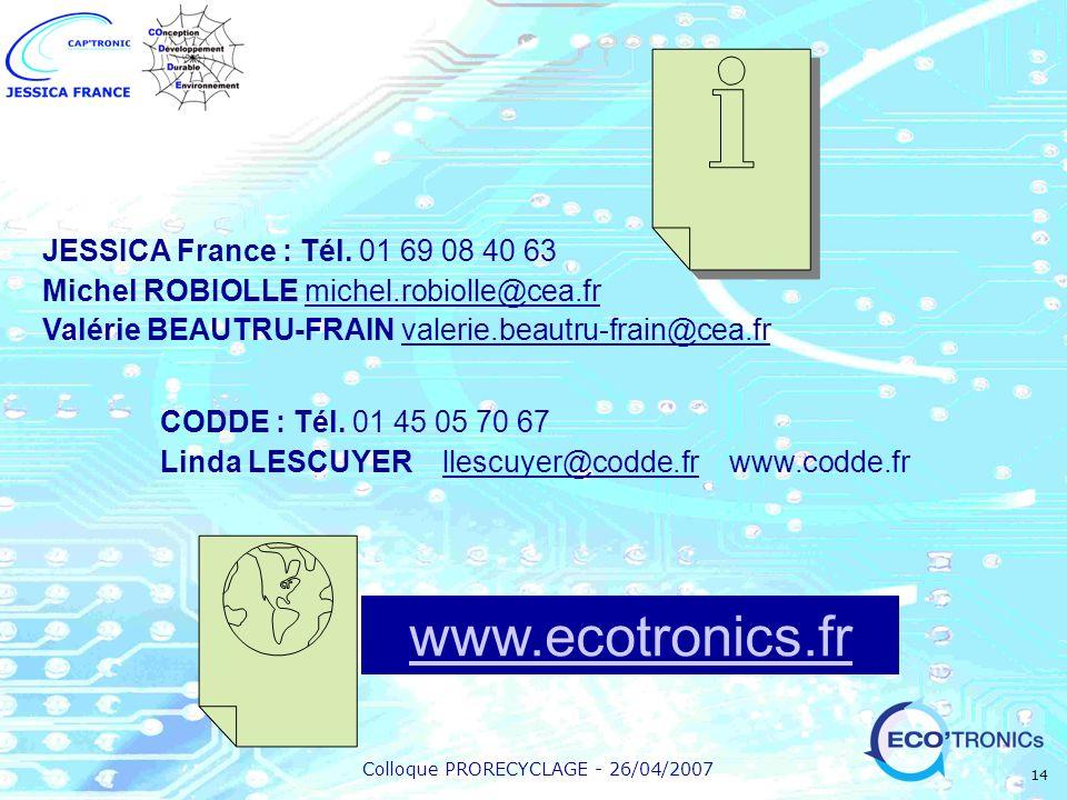 www.ecotronics.fr JESSICA France : Tél. 01 69 08 40 63