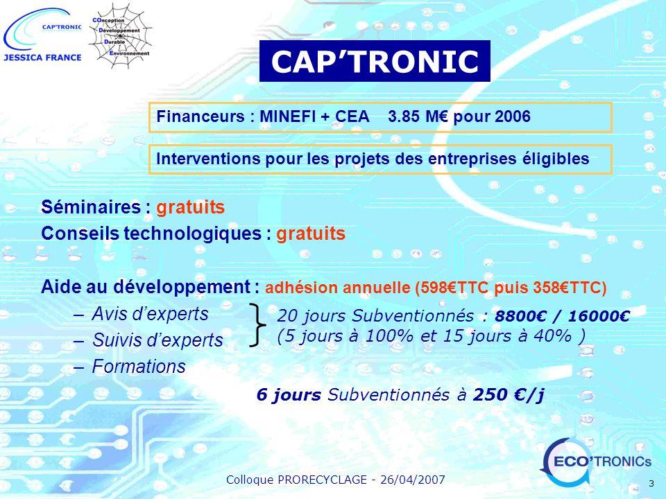 CAP'TRONIC Séminaires : gratuits Conseils technologiques : gratuits