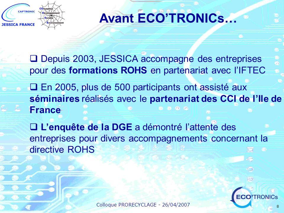 Avant ECO'TRONICs… Depuis 2003, JESSICA accompagne des entreprises pour des formations ROHS en partenariat avec l'IFTEC.