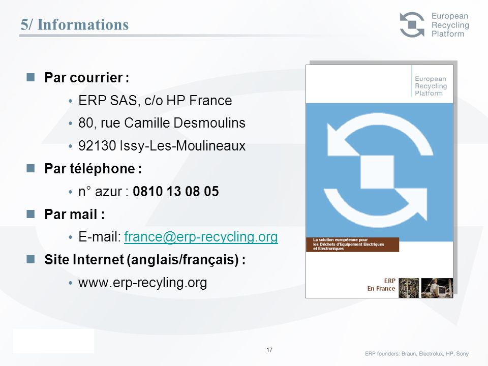 5/ Informations Par courrier : ERP SAS, c/o HP France