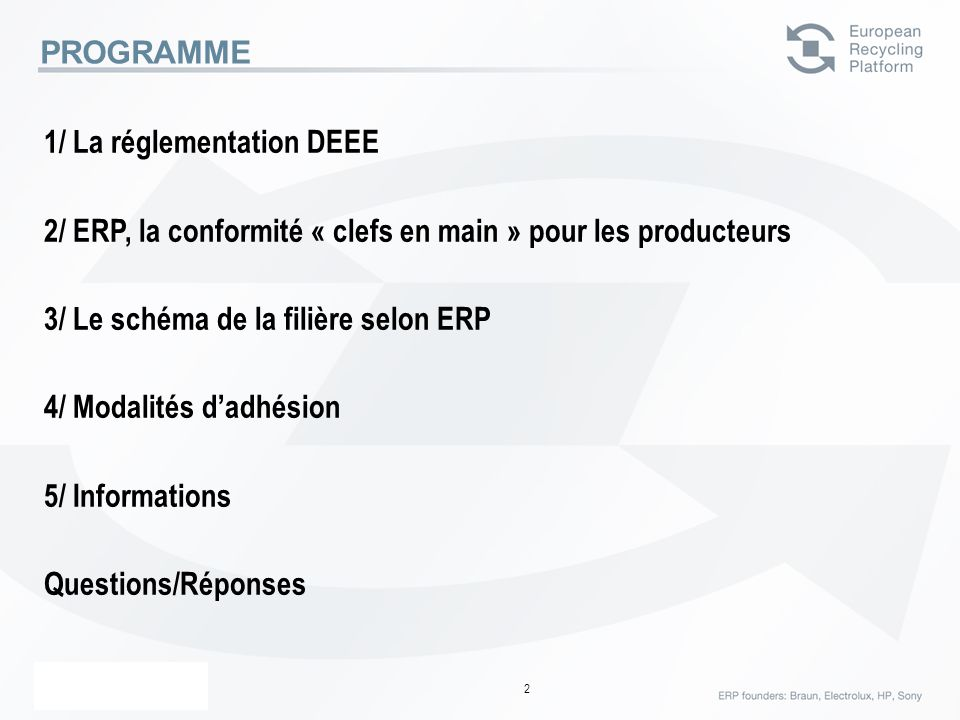 PROGRAMME1/ La réglementation DEEE. 2/ ERP, la conformité « clefs en main » pour les producteurs. 3/ Le schéma de la filière selon ERP