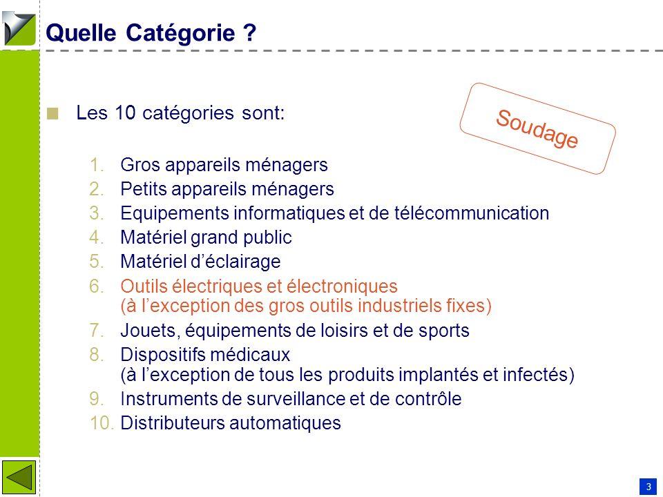 Quelle Catégorie Soudage Les 10 catégories sont: