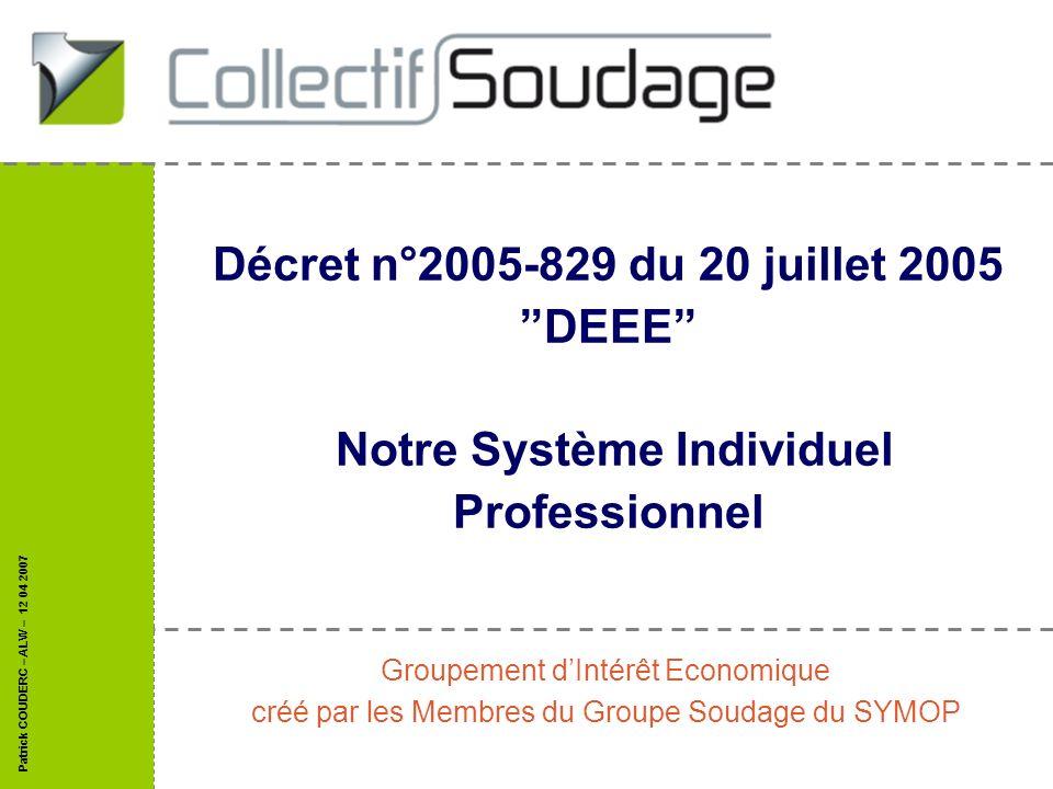 Décret n°2005-829 du 20 juillet 2005 DEEE Notre Système Individuel Professionnel