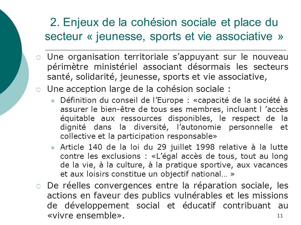 2. Enjeux de la cohésion sociale et place du secteur « jeunesse, sports et vie associative »