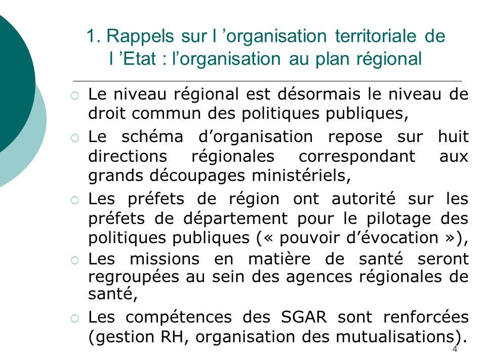 1. Rappels sur l 'organisation territoriale de l 'Etat : l'organisation au plan régional
