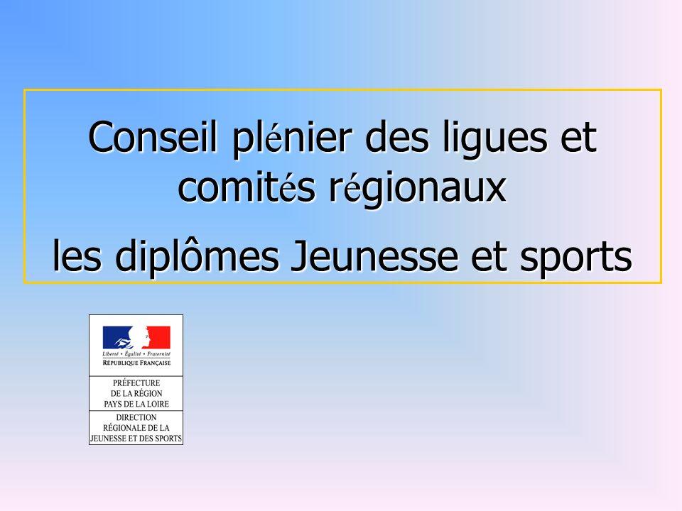 Conseil plénier des ligues et comités régionaux les diplômes Jeunesse et sports