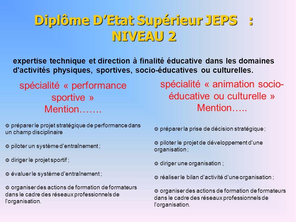 Diplôme D'Etat Supérieur JEPS : NIVEAU 2