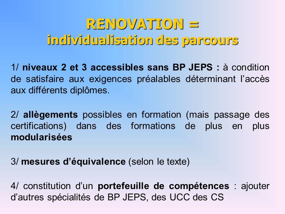 RENOVATION = individualisation des parcours