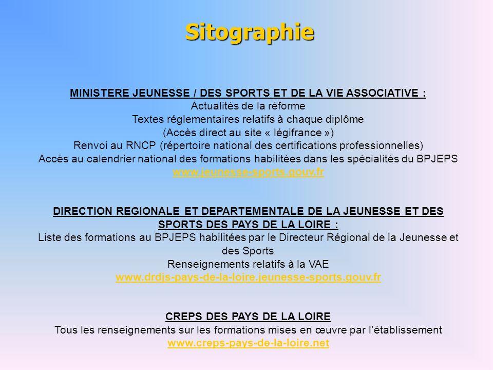 Sitographie MINISTERE JEUNESSE / DES SPORTS ET DE LA VIE ASSOCIATIVE :