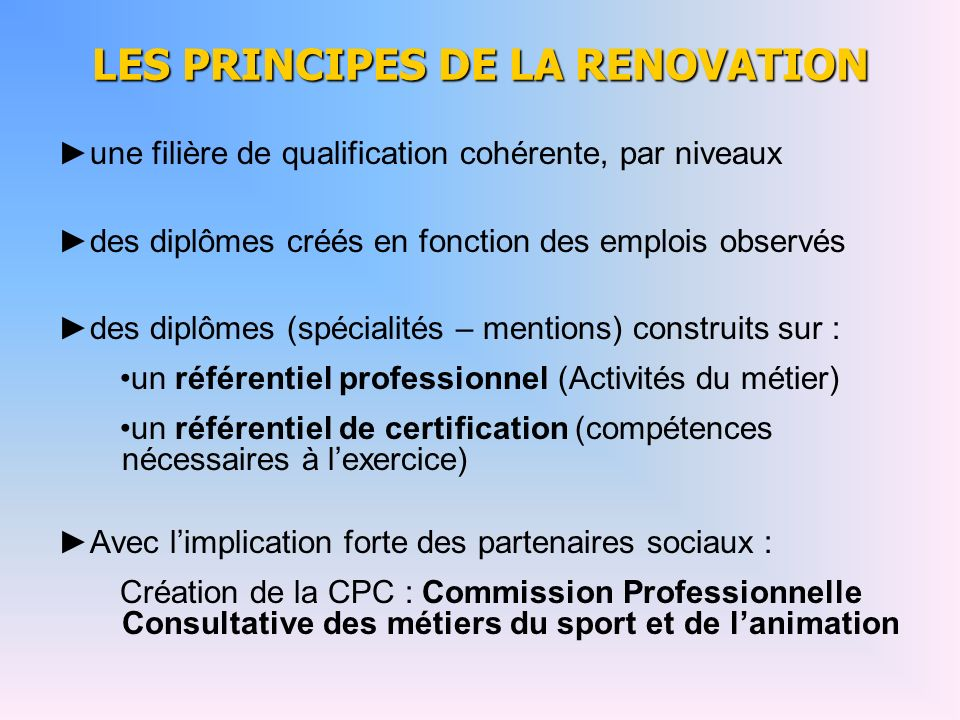 LES PRINCIPES DE LA RENOVATION