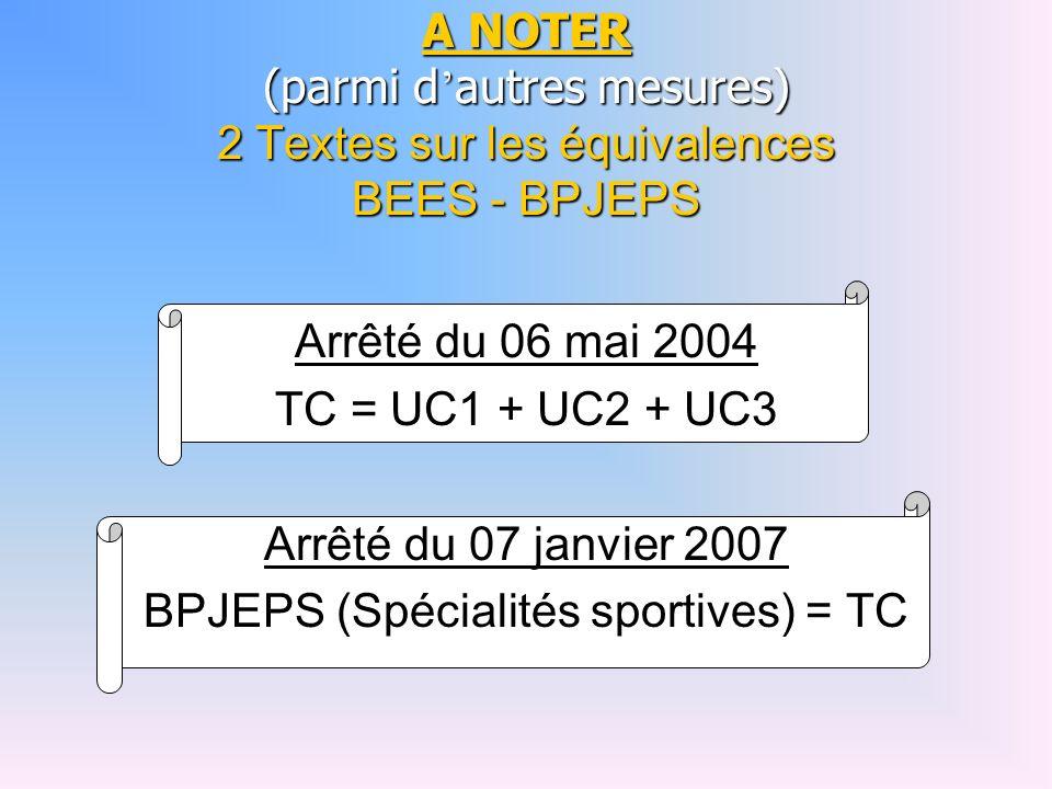 BPJEPS (Spécialités sportives) = TC